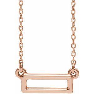 "14K Rose Rectangle Bar 16-18"" Necklace"