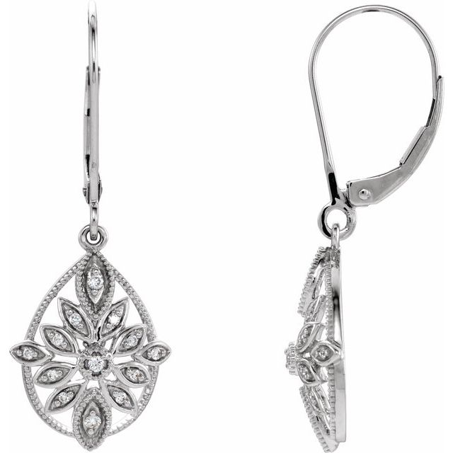 14K White 1/6 CTW Diamond Granulated Filigree Earrings