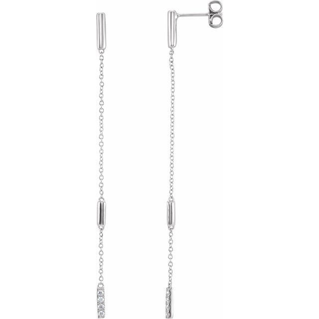 14K White 1/10 CTW Diamond Chain Earrings