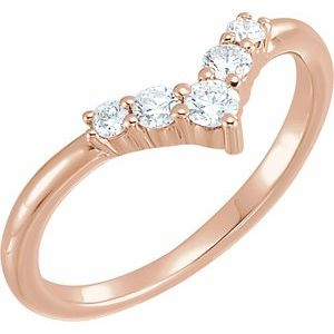 "14K Rose 1/4 CTW Diamond Graduated ""V"" Ring"
