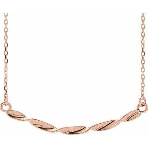 "14K Rose Twisted Ribbon Bar 16-18"" Necklace"