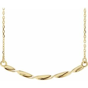"14K Yellow Twisted Ribbon Bar 16-18"" Necklace"
