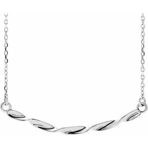 "Sterling Silver Twisted Ribbon Bar 16-18"" Necklace"