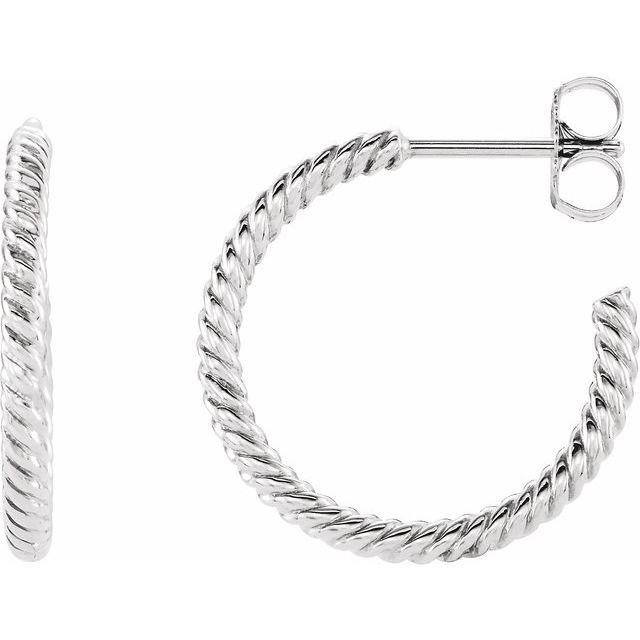 Sterling Silver 17 mm Rope Hoop Earrings
