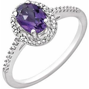 Sterling Silver Amethyst & .01 CTW Diamond Ring