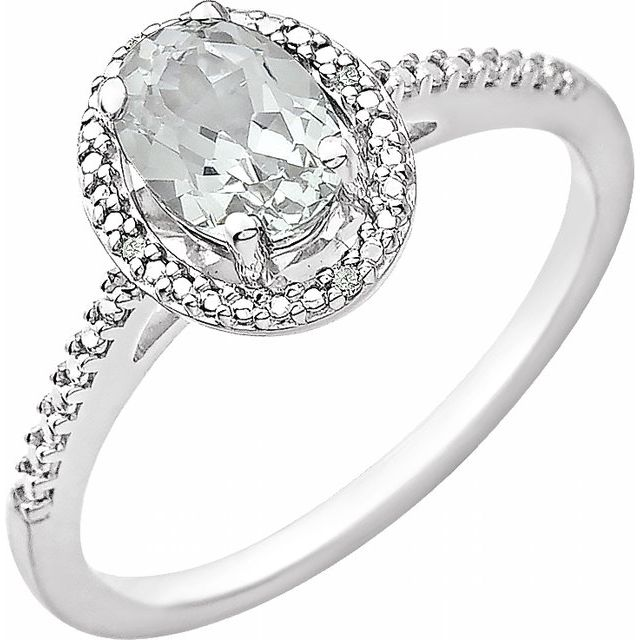 Sterling Silver Lab-Grown White Sapphire & .01 CTW Diamond Ring