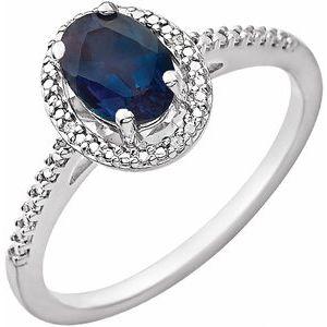Sterling Silver Lab-Grown Alexandrite & .01 CTW Diamond Ring