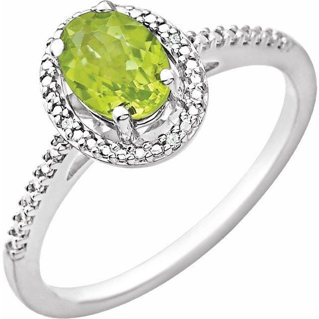 Sterling Silver Peridot & .01 CTW Diamond Ring
