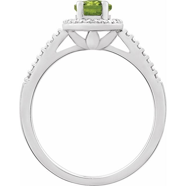 Sterling Silver Peridot & .01 CTW Diamond Ring