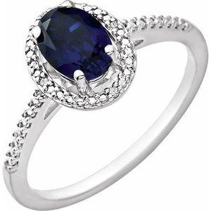 Sterling Silver Lab-Grown Blue Sapphire & .01 CTW Diamond Ring