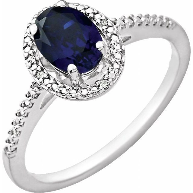 Sterling Silver Lab Created Blue Sapphire & .01 CTW Diamond Ring