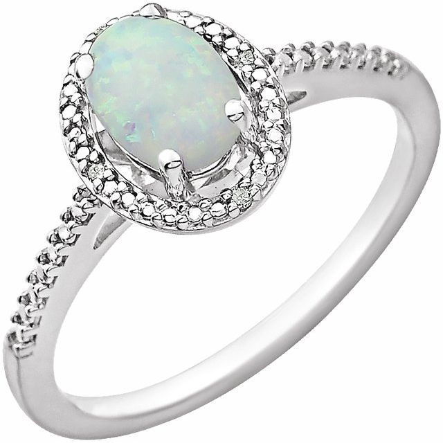 Sterling Silver Lab Created Opal & .01 CTW Diamond Ring