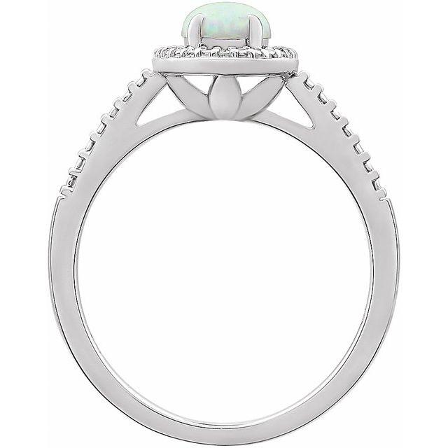 Sterling Silver Lab-Grown Opal & .01 CTW Diamond Ring