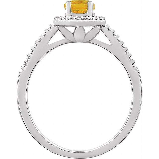Sterling Silver Citrine & .01 CTW Diamond Ring