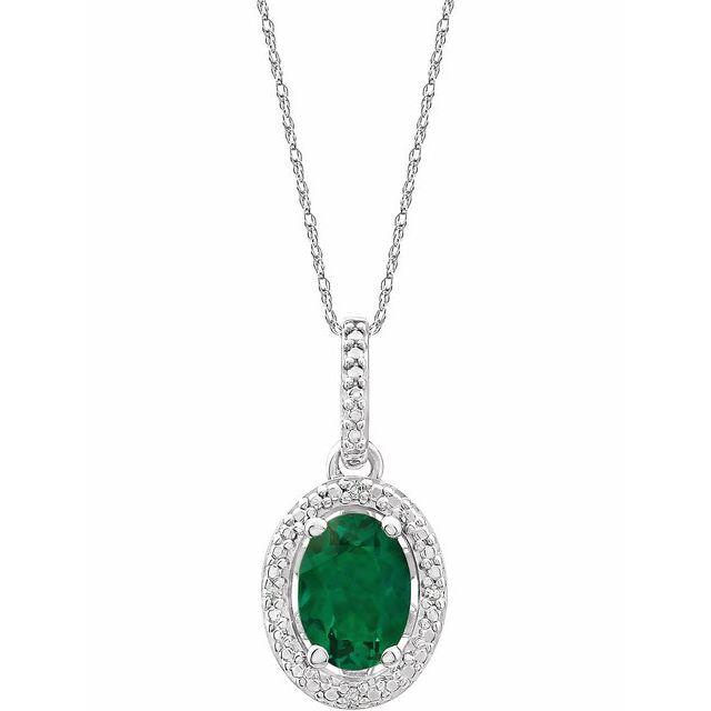Sterling Silver Lab-Grown Emerald &.01 CTW Diamond 18