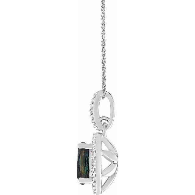 Sterling Silver Lab-Grown Alexandrite & .01 CTW Diamond 18