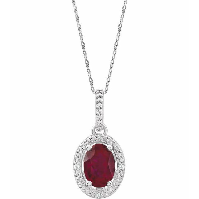 Sterling Silver Lab-Grown Ruby & .01 CTW Diamond 18