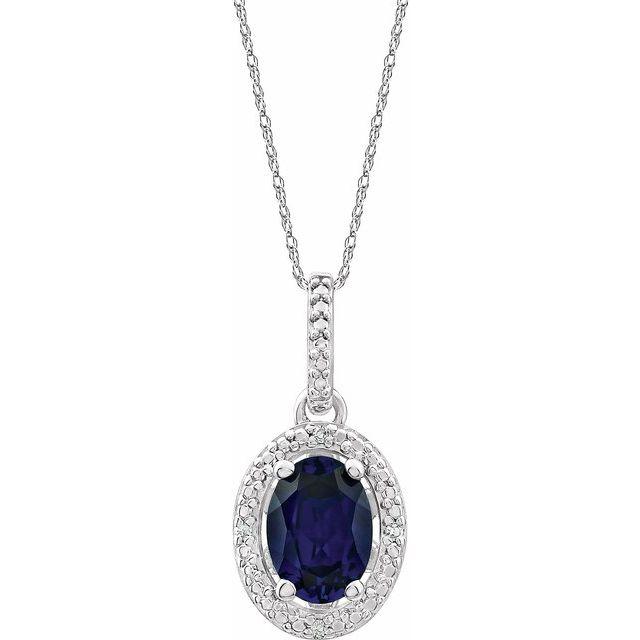 Sterling Silver Lab-Grown Blue Sapphire & .01 CTW Diamond 18