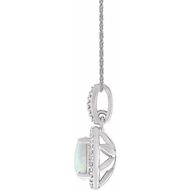 Sterling Silver Lab-Grown Opal & .01 CTW Diamond 18