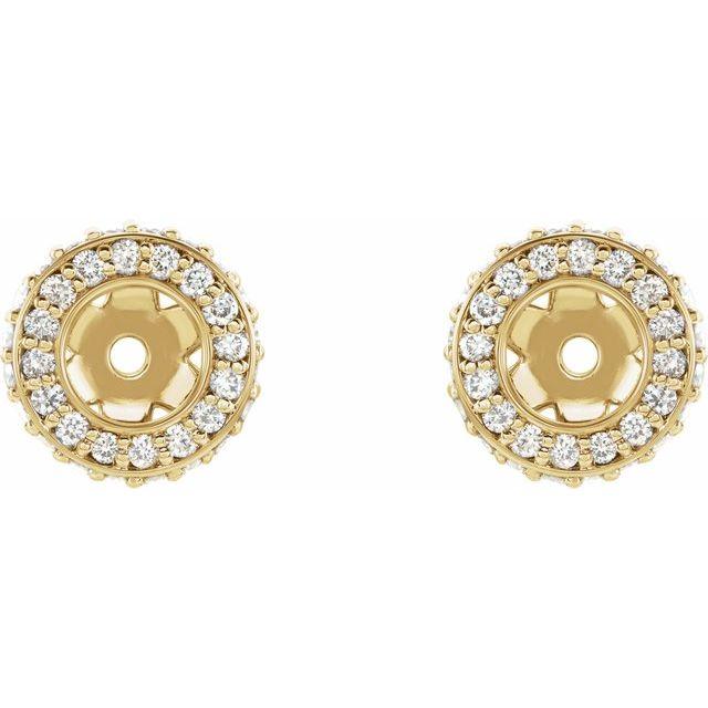 14K Yellow 1/5 CTW Diamond Earrings Jackets with 3.5 mm ID
