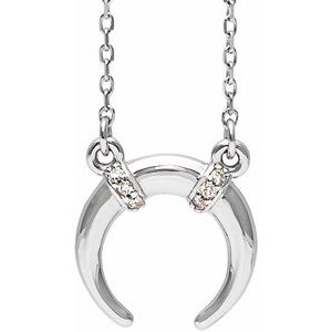 "Sterling Silver .03 CTW Diamond 16-18"" Necklace"