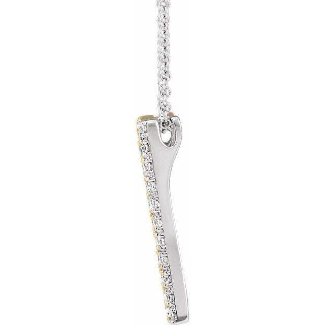 14K White & Yellow 1/3 CTW Diamond Rectangle 16-18 Inch Necklace