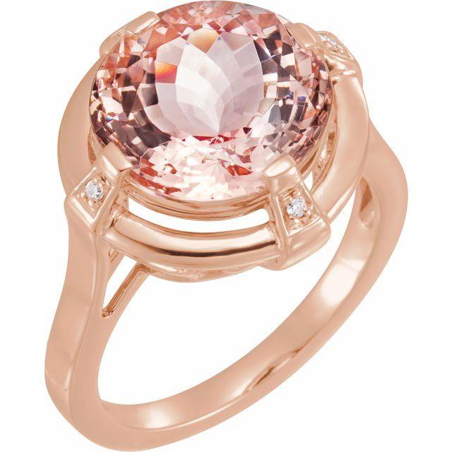 14K Rose Morganite & .025 CTW Diamond Ring