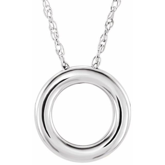 14K White 13 mm Circle 18
