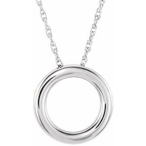 """14K White 15 mm Circle 18"""" Necklace"""