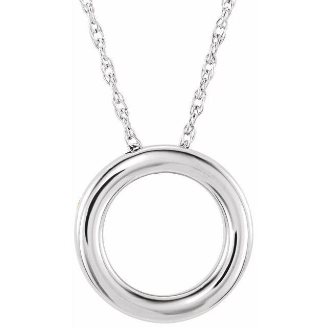 14K White 15 mm Circle 18