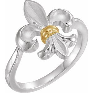Sterling Silver & 14K Yellow Fleur-de-lis Ring