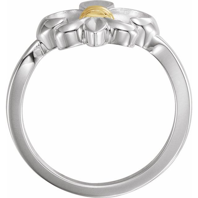 Sterling Silver & 14K Yellow Fleur-de-lis Ring