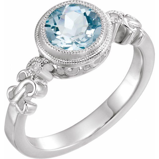 Sterling Silver Aquamarine & .02 CTW Diamond Ring