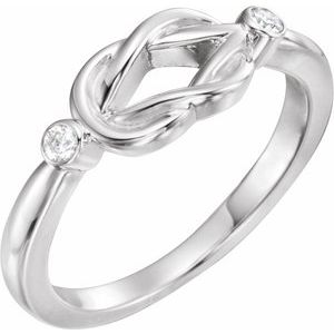 Sterling Silver .06 CTW Diamond Knot Ring