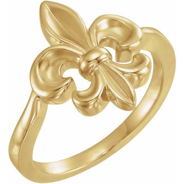 14K Yellow Fleur-de-lis Ring
