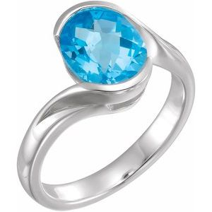 Sterling Silver 10x8 mm Checkerboard Swiss Blue Topaz Ring