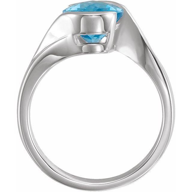 Sterling Silver 10x8 mm Checkerboard Swiss Blue Topaz Ring