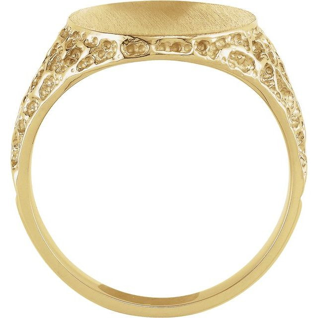 14K Yellow 19x15 mm Oval Signet Ring