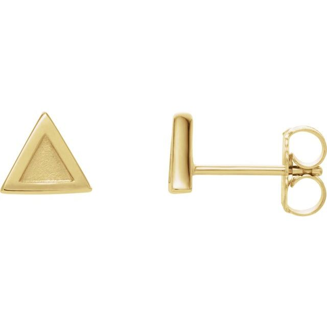 14K Yellow Petite Triangle Earrings