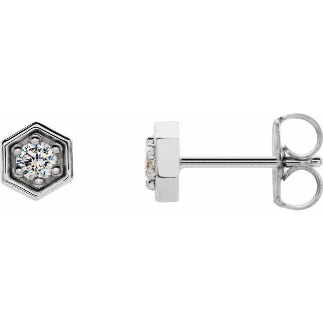 14K White 1/8 CTW Diamond Hexagon Stud Earrings
