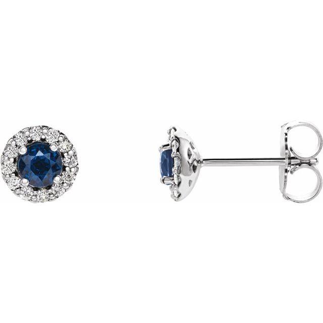 14K White 3.5 mm Natural Blue Sapphire & 1/10 CTW Natural Diamond Earrings