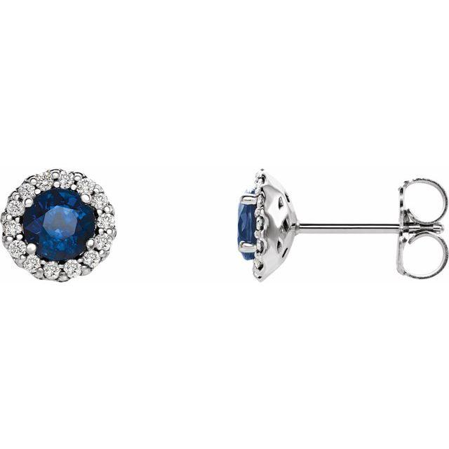 14K White 4.5 mm Natural Blue Sapphire & 1/10 CTW Natural Diamond Earrings