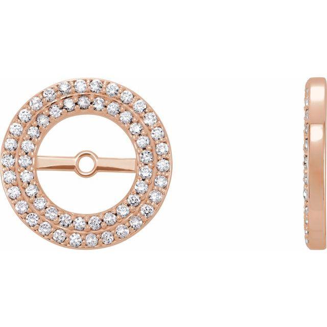 14K Rose 1/3 CTW Diamond Earring Jackets