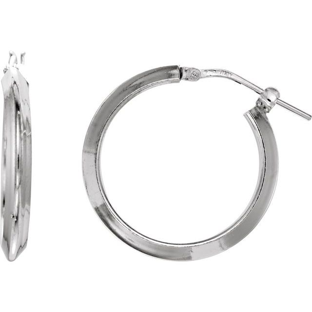 Sterling Silver 20 mm Round Knife Edge Tube Style Hoop Earrings