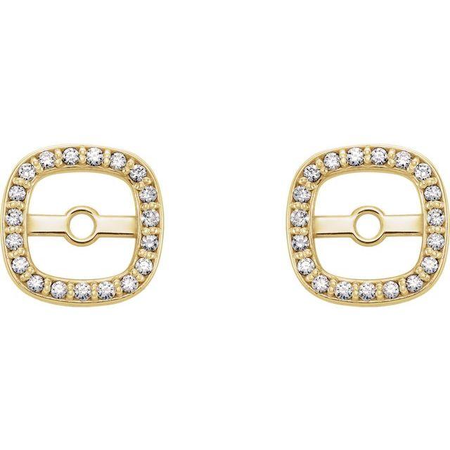 14K Yellow .08 CTW Diamond Halo-Style Earring Jackets