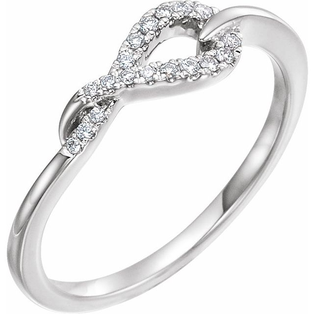 14K White 1/10 CTW Diamond Knot Ring