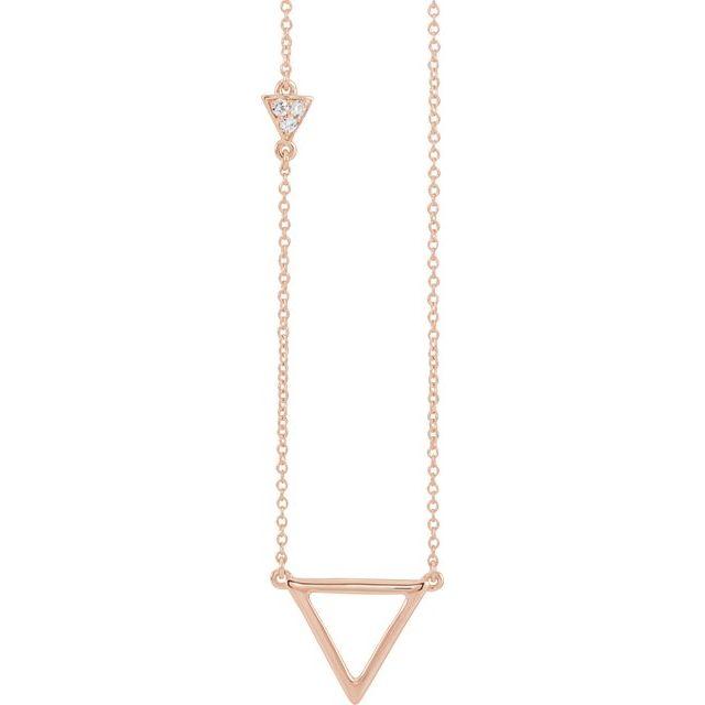 14K Rose .05 CTW Diamond Triangle 16-18