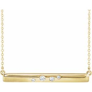 "14K Yellow 1/10 CTW Diamond Bar 16-18"" Necklace"