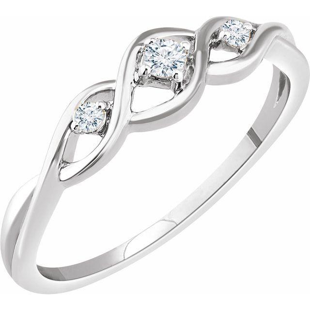 14K White .08 CTW Diamond Freeform Ring