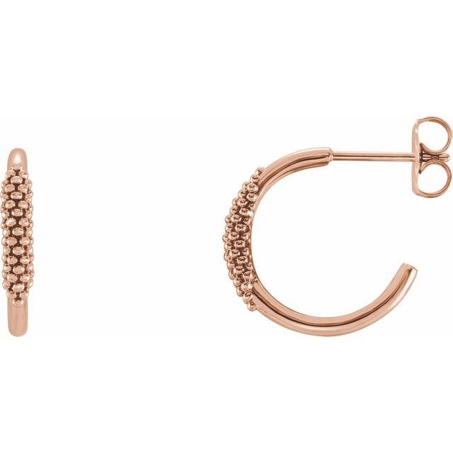 14K Rose 15.1 mm Beaded Hoop Earrings